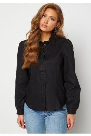 Object Naiset Paitapuserot - Carla Coated Shirt Black S