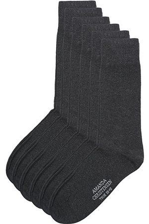 Amanda Christensen 6-Pack True Cotton Socks Antrachite Melange