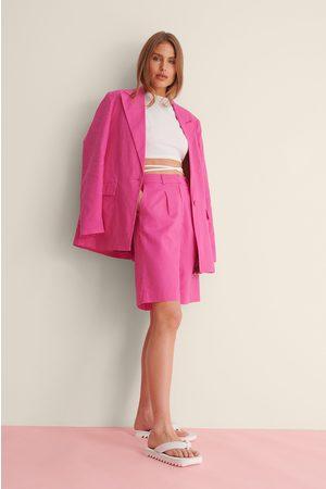 Curated Styles Naiset Bermuda - Ylisuuri Pellavashortsit - Pink