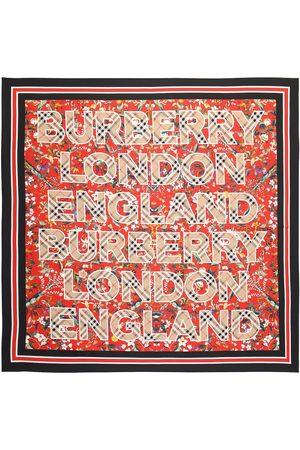 Burberry Logo floral silk square scarf