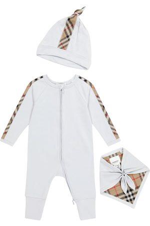 Burberry Baby cotton onesie, hat and bib set