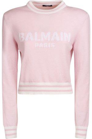 Balmain Logo Wool Blend Knit Cropped Sweater