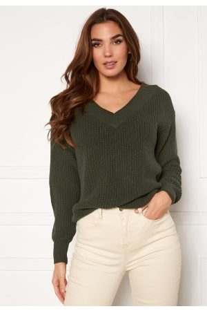 ONLY Naiset Yöpaidat - Melton Life L/S V-Neck Pullover Forest Night S