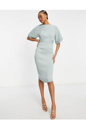 Closet Ribbed pencil mini dress in sage green-Blue