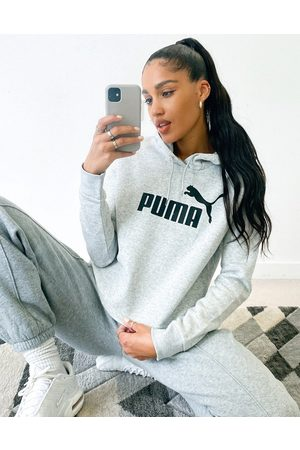 PUMA Essentials cropped logo hoodie in grey