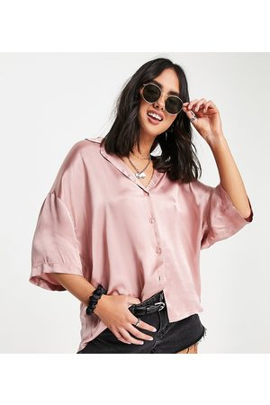 Ghost Harlow short sleeved satin shirt in baby pink