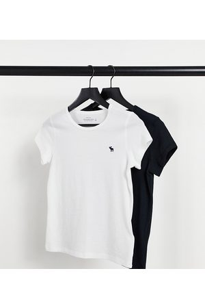 Abercrombie & Fitch 2 pack short sleeve tee in multi-Black
