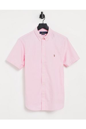 Polo Ralph Lauren Player logo short sleeve oxford shirt button down slim fit in pink