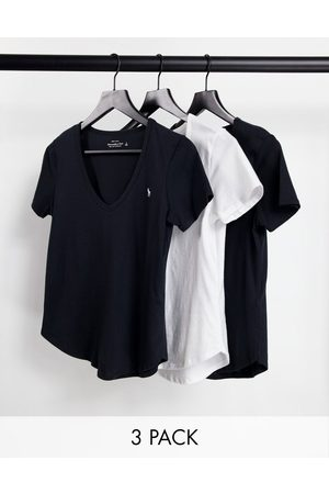 Abercrombie & Fitch 3 pack short sleeve icon v-neck tee in multi