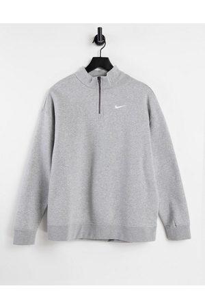 Nike Mini Swoosh oversized 1/4 zip sweatshirt in grey