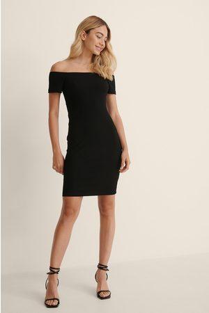 NA-KD Recycled Off sholder Ribbed Dress - Black