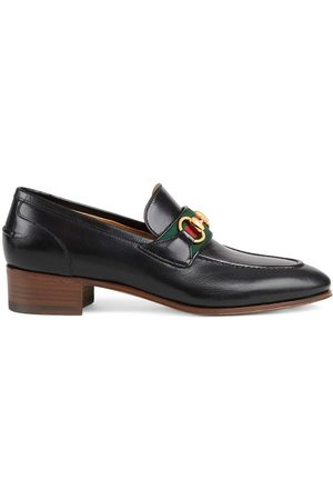 Gucci Naiset Loaferit - Horsebit and Web leather loafers