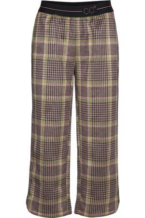Coster Copenhagen Pants In Checked Scuba W. Cc Logo W Leveälahkeiset Housut Ruskea