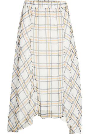 Bruuns Bazaar Naiset Midihameet - Check Kate Skirt Polvipituinen Hame Kermanvärinen
