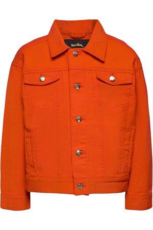 Mini Rodini Denim Twill Teddybear Jacket Outerwear Jackets & Coats Denim & Corduroy Oranssi