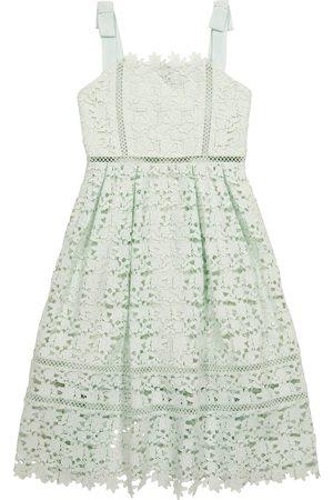 Self Portrait Kids Bow-trimmed lace dress