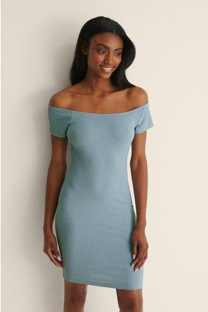 NA-KD Recycled Off sholder Ribbed Dress - Blue