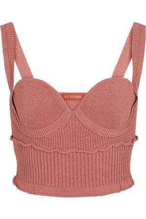 Altuzarra Naiset Hihattomat - Piper ribbed-knit bustier top