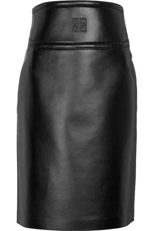 Givenchy Naiset Nahkahameet - 4G leather midi skirt