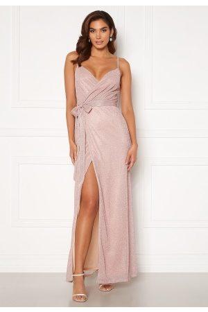Goddiva Naiset Juhlamekot - Glitter Wrap Front Maxi Dress Blush XL (UK16)