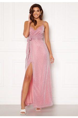 Goddiva Naiset Juhlamekot - Glitter Wrap Front Maxi Dress Pink XL (UK16)