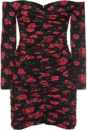 GIUSEPPE DI MORABITO Printed Wool Off-the-shoulder Mini Dress