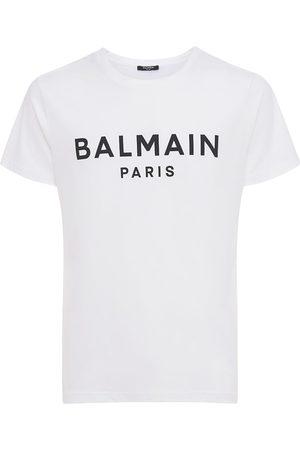 Balmain Miehet T-paidat - Logo Print Cotton Jersey T-shirt