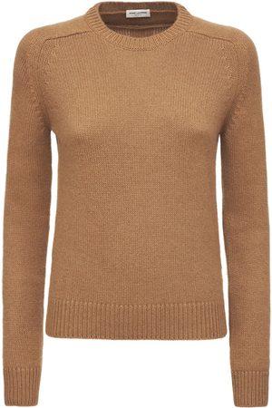 Saint Laurent Camel Knit Crewneck Sweater