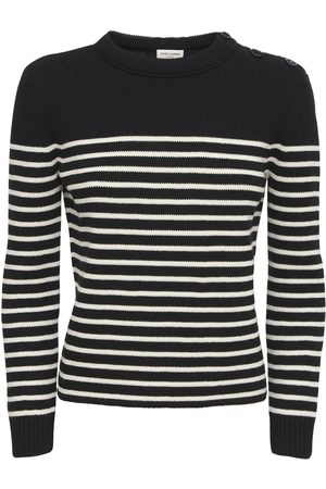 Saint Laurent Striped Cotton & Wool Crewneck Sweater