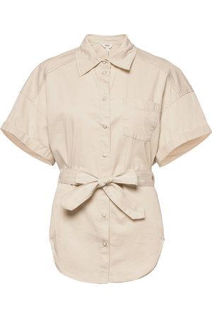 Object Naiset T-paidat - Objaubrey Twill 2/4 Shirt Lyhythihainen Paita Beige
