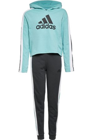 adidas G Hoodedcrop Ts Verryttelypuku Sininen