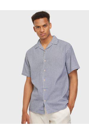 JACK & JONES Miehet Bleiserit - Jorwavy Shirt Ss Kauluspaidat Navy Blazer /White