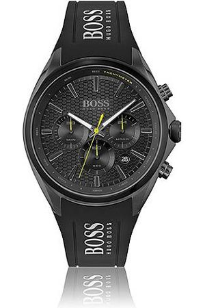 HUGO BOSS Miehet Kellot - Black-plated chronograph watch with silicone strap