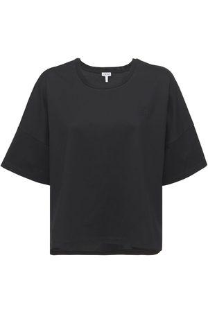Loewe Logo Cropped Cotton Jersey T-shirt