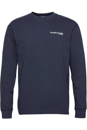 Scotch&Soda Organic Cotton-Jersey Longsleeve Tee With Chest Print T-shirts Long-sleeved Sininen