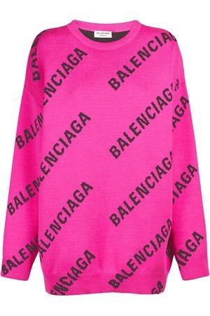 Balenciaga Logo Cotton Blend Knit Crewneck Sweater