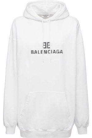 BALENCIAGA Naiset Collegepaidat - Logo Hooded Cotton Jersey Sweatshirt
