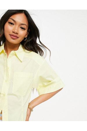 MANGO Short sleeve poplin shirt co-ord in yellow
