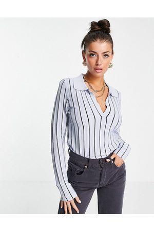 MANGO Naiset Pikee - Fine knit polo in blue stripe