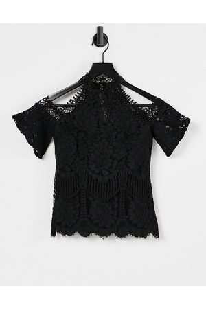 Lipsy London Lace cold shoulder top in black