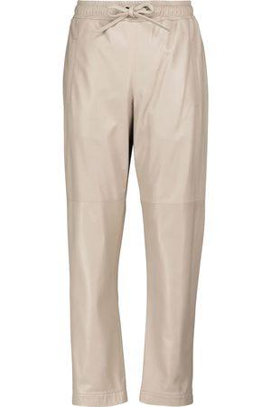 Brunello Cucinelli Naiset Nahkahousut - Drawstring leather tapered pants