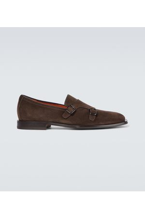 santoni Miehet Loaferit - Double monk strap suede loafers