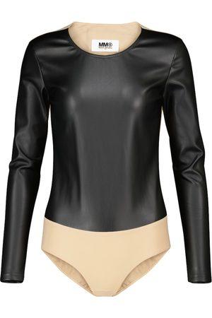 MM6 MAISON MARGIELA Naiset Bodyt - Paneled faux leather bodysuit