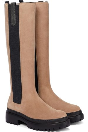 Brunello Cucinelli Naiset Ylipolvensaappaat - Suede knee-high boots