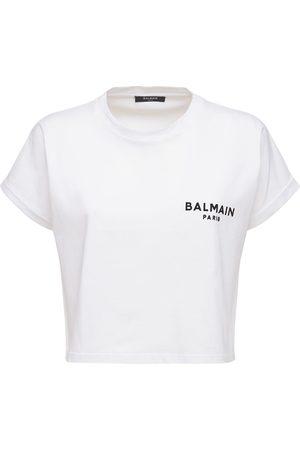 Balmain Naiset T-paidat - Flocked Logo Cotton Jersey T-shirt