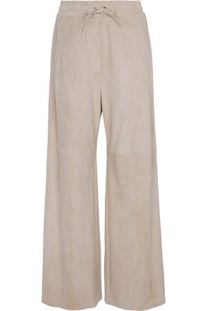 Brunello Cucinelli Naiset Nahkahousut - Wide-leg suede pants