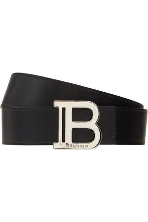 Balmain 3.5cm B Buckle Leather Belt