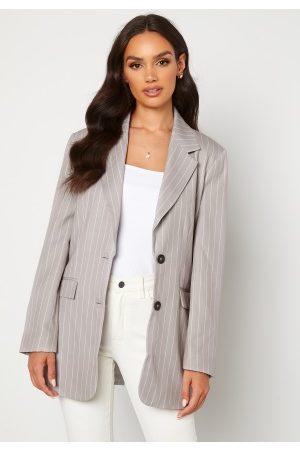 BUBBLEROOM Naiset Bleiserit - Pinstripe Oversized Blazer Grey / Striped 36