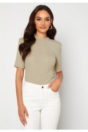 BUBBLEROOM Naiset T-paidat - Power Shoulder T-shirt Beige M