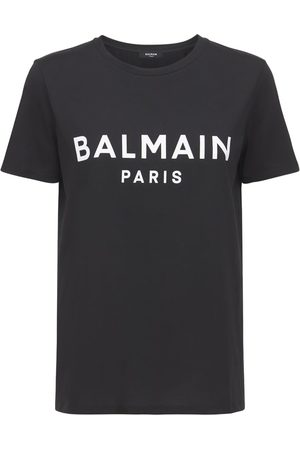 Balmain Logo Flocked Cotton Jersey T-shirt